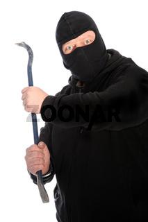 Masked man wielding a crowbar