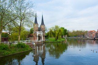 classic view on old Delft, Netherlands