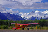 Plane and Glacier in the Wrangell St. Elias Nation