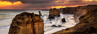 Backlit 12 Apostles golden sunset