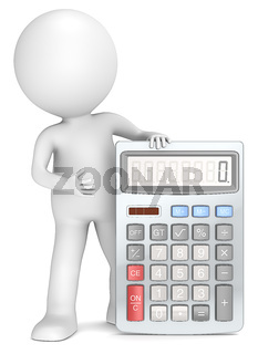 3D little human character with a Calculator.
