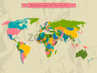 Editable world map with all Countries.