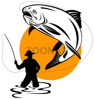 trout fish jumping reeled by fly fisherman