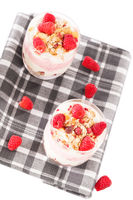 raspberry yoghurt desserts from top