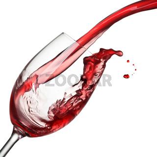 Splash of wine isolated on white