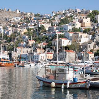 Gialos, the harbour of Symi, Greece.