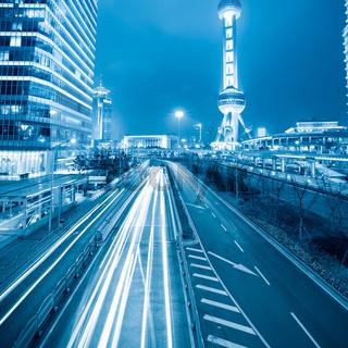 traffic rush hour at night in shanghai