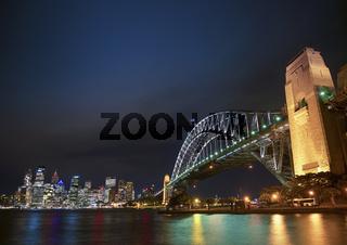 harbour bridge and skyline of sydney australia at night
