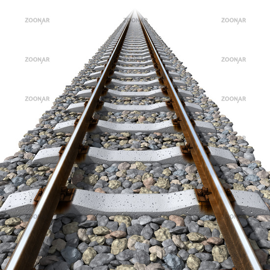 Rails lines on concrete sleepers