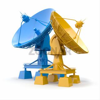 Communiation. Satellite dish on white background. 3d