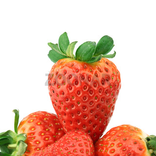 strawberry pile on white background