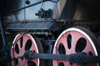 Details of an old steam locomotive, a close up