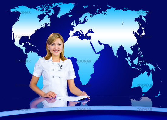 anchorwoman at TV studio
