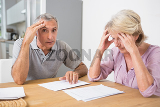 Concentrated couple reading documents together