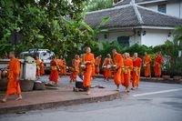 Mönchgang am Morgen in Luang Prabang, Laos