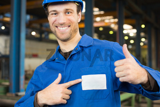 Construction worker in assembly hall