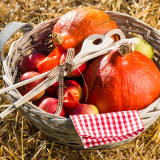 Äpfel und Kürbisse