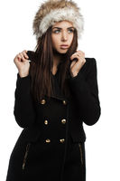 beautiful fashionable woman in coat