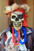 Colorful pirate puppet with a skull face.