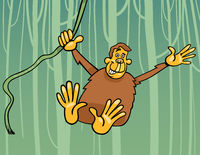 ape in the jungle cartoon illustration