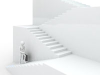 Businessman walking upstairs. Success 3d concept