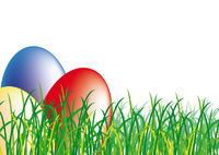 Green grass with colourful easter eggs