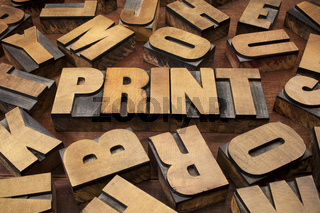 print concept in wood type