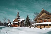 wooden chapel in winter village