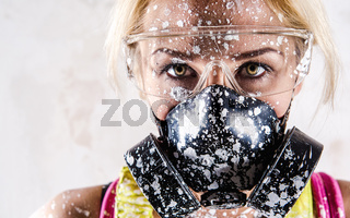 Portrait of a woman with protective filter mask