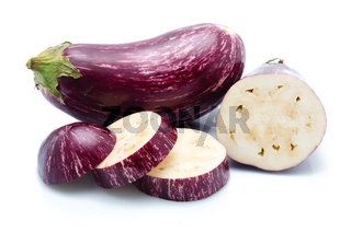 Purple eggplant vegetables isolated on white