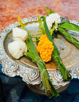 Lotus flowers garland offering in buddhist temple