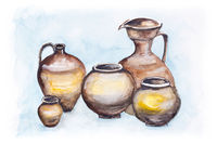 Italian  big clay jugs
