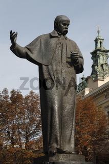 Statue of Taras Shevchenko (Пам'ятник Тарасу Шевченку / Pomnik Tarasa Szewczenki) in the Old Town of Lviv (Lwów)