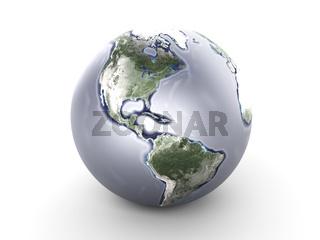 Metal Globe - North America