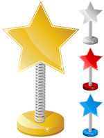 Set of Colorful Star Shaped Text Box on Metal Spring