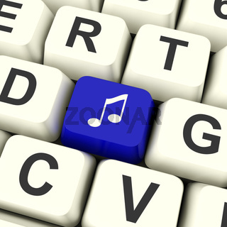 Music Symbol Computer Key In Blue Showing Online Audio Or Radio