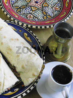 Arabic Fastfood. Pita Bead and stong cup of Black Coffee. Tunis