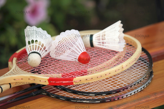 Badminton racquets and shuttlecock