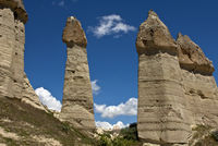 Phallic tuff rock cones near Uchisar, Turkey