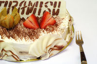Delicious birthday tiramisu cake with special decoration