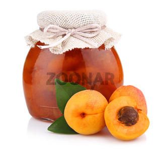 Apricot jam isolated on white