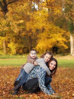 Outdoor children with mother