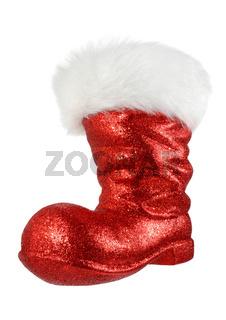 Santa's red boot on white