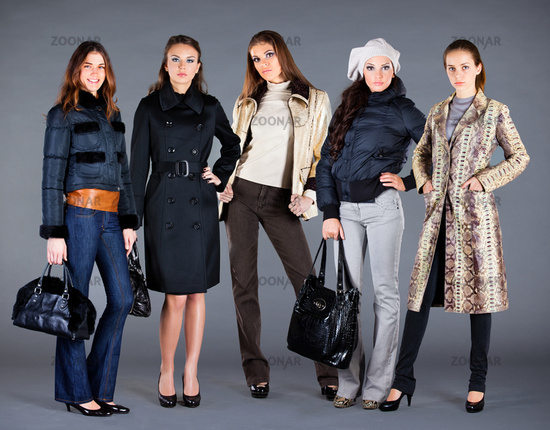 Five girls. Autumn winter collection lady's clothe