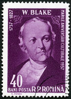 ROMANIA - 1958: shows William Blake (1757-1827), English poet, painter and printmaker, by Thomas Phillips