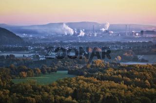 Landschaft mit Blick zur Dillinger Huette, Saarland, Germany
