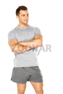 Healthy muscular young man isolated on white