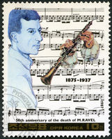 NORTH KOREA - 1987: shows Maurice Ravel (1875-1937), series Famous Composers