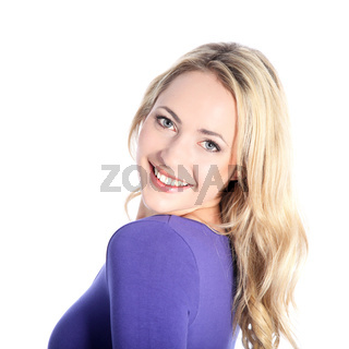 Friendly Smiling Young Blonde Woman