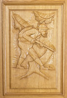 hunting scene carving